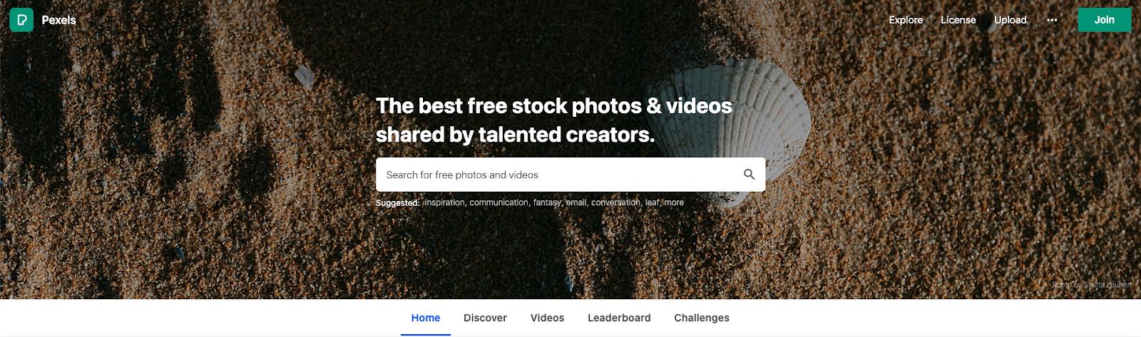 Pexels home page screen grab