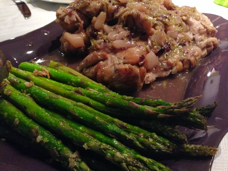 Chicken Thighs with Pear & Leek Sauce with roasted asparagus