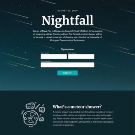 Nightfall là một trong số những landing page miễn phí tuyệt vời mà ngành bất động sản