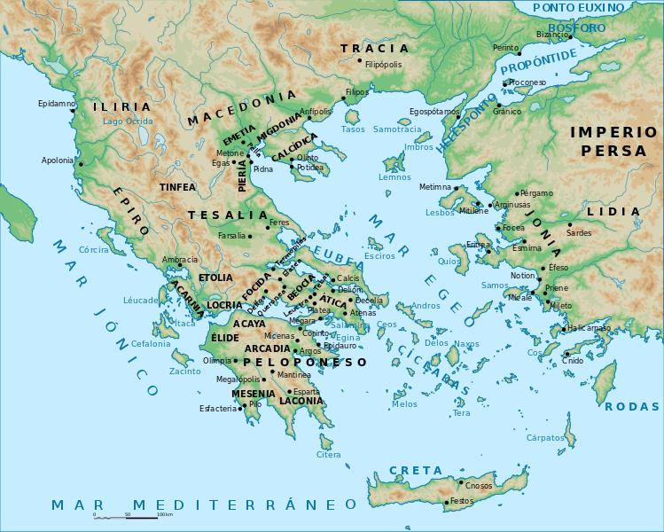 el mapa de grecia antigüo