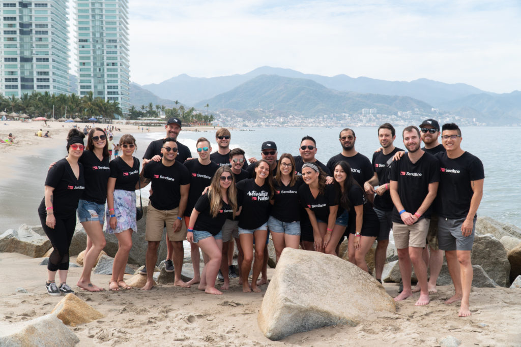 Sendlane's team at the beach