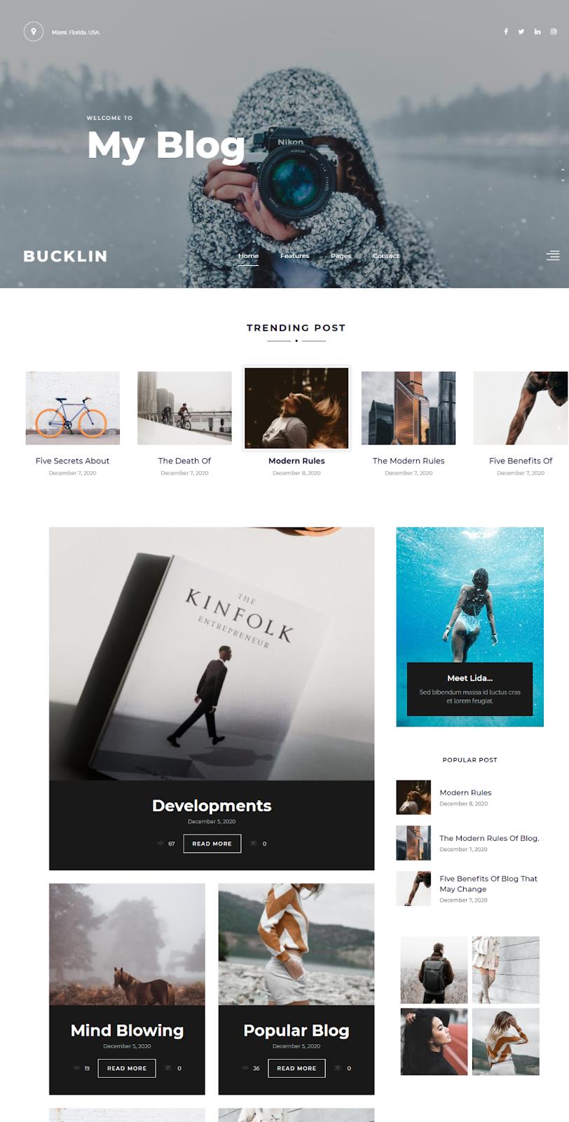 Best WordPress Instagram Theme Bucklin