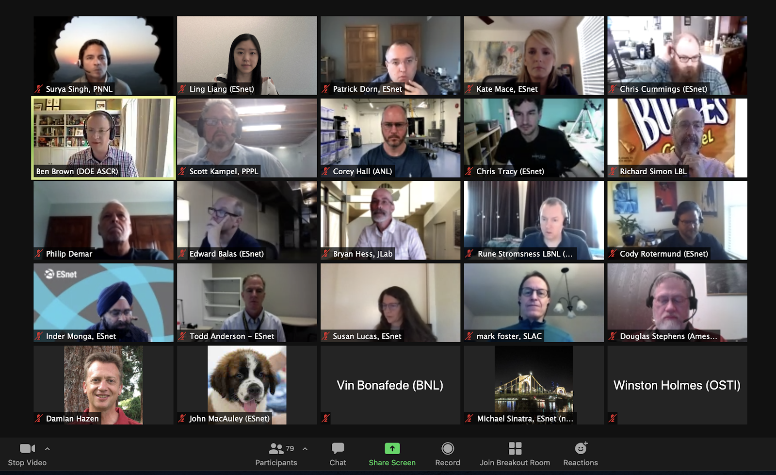 A sample of attendees zoom screenshots - the first ESCC via Zoom