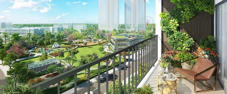 Các căn hộ tại đây đều có view ban công hướng ra công viên