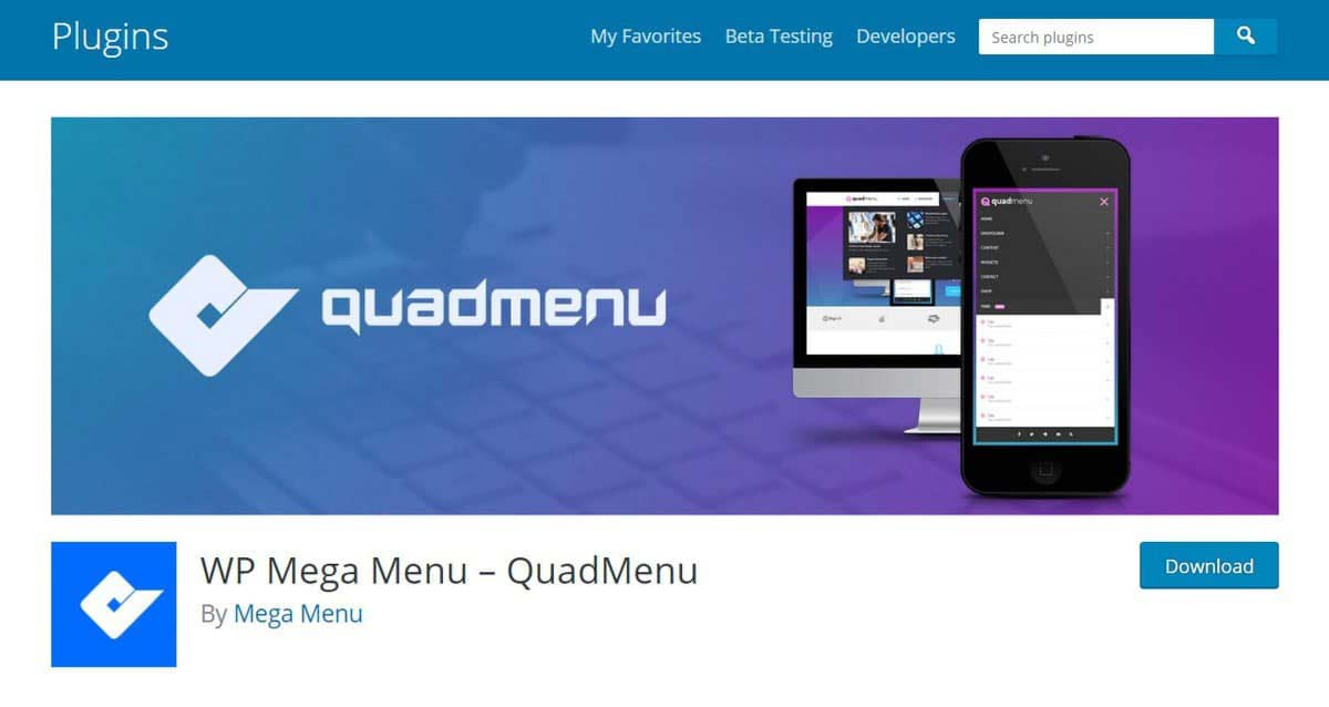 Página principal do plugin WP Mega Menu -QuadMenu