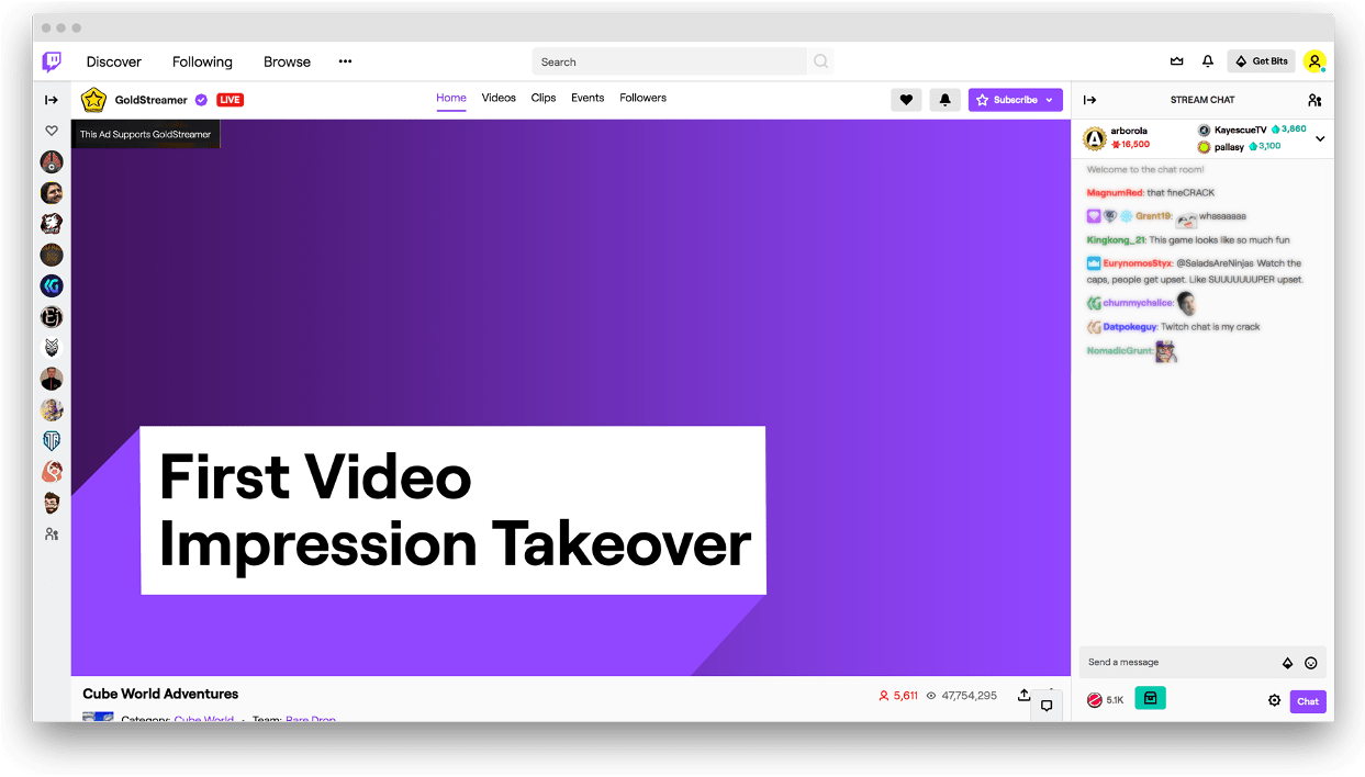 Twitch - first impression takeover