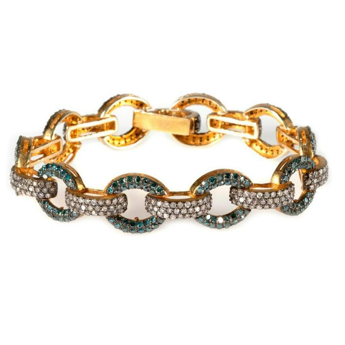 Diamond, colored diamond, vermeil silver link bracelet