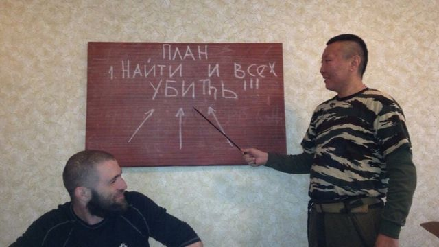 Vladimir Andanov. Board reads: 2016 - 'The plan. 1. Find and kill everyone'