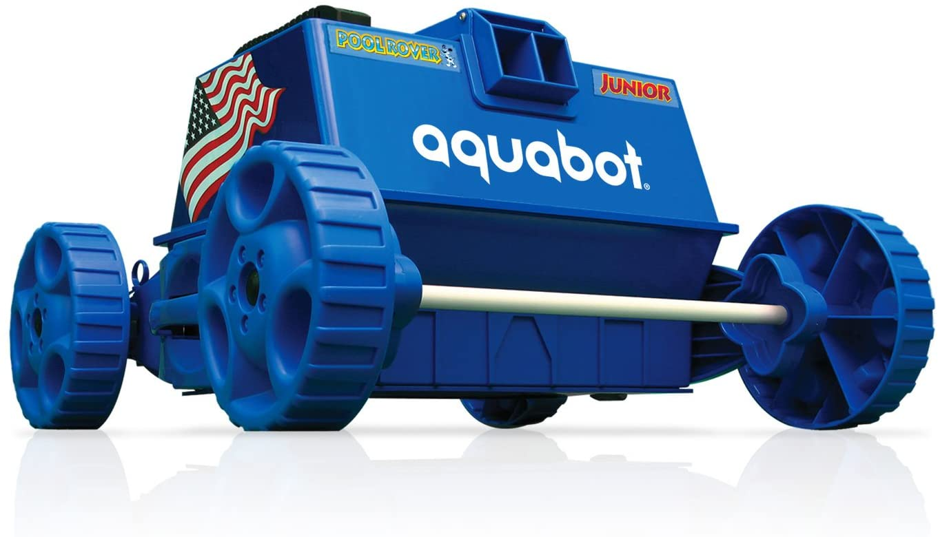 a blue, rectangular robotic pool vacuum with four wheels