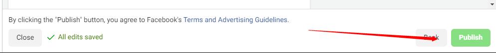 facebook ads publish button