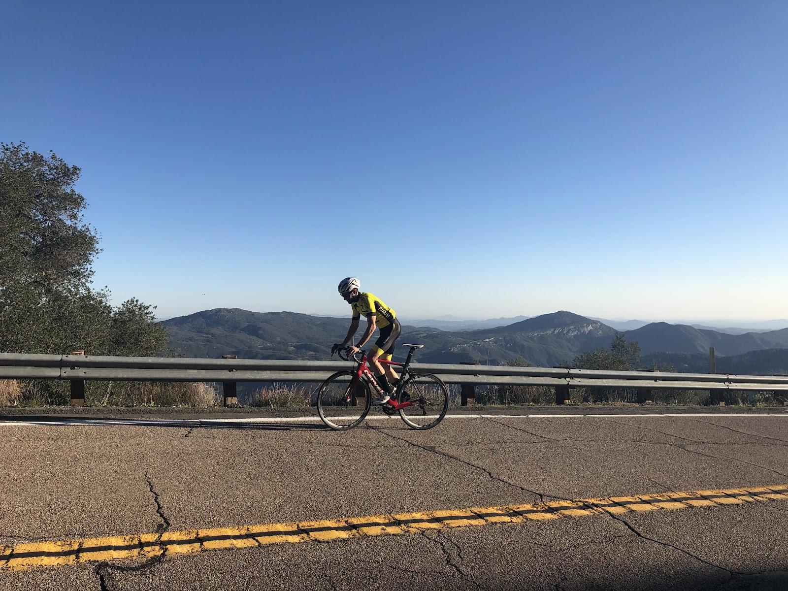 Cycling Palomar Mountain - cyclist on bike south grade road
