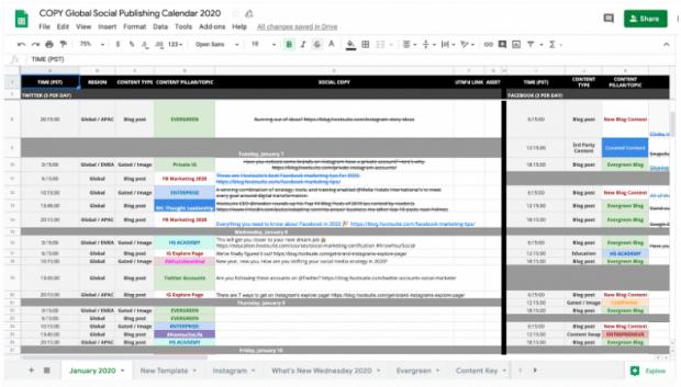 social media content calendar template example