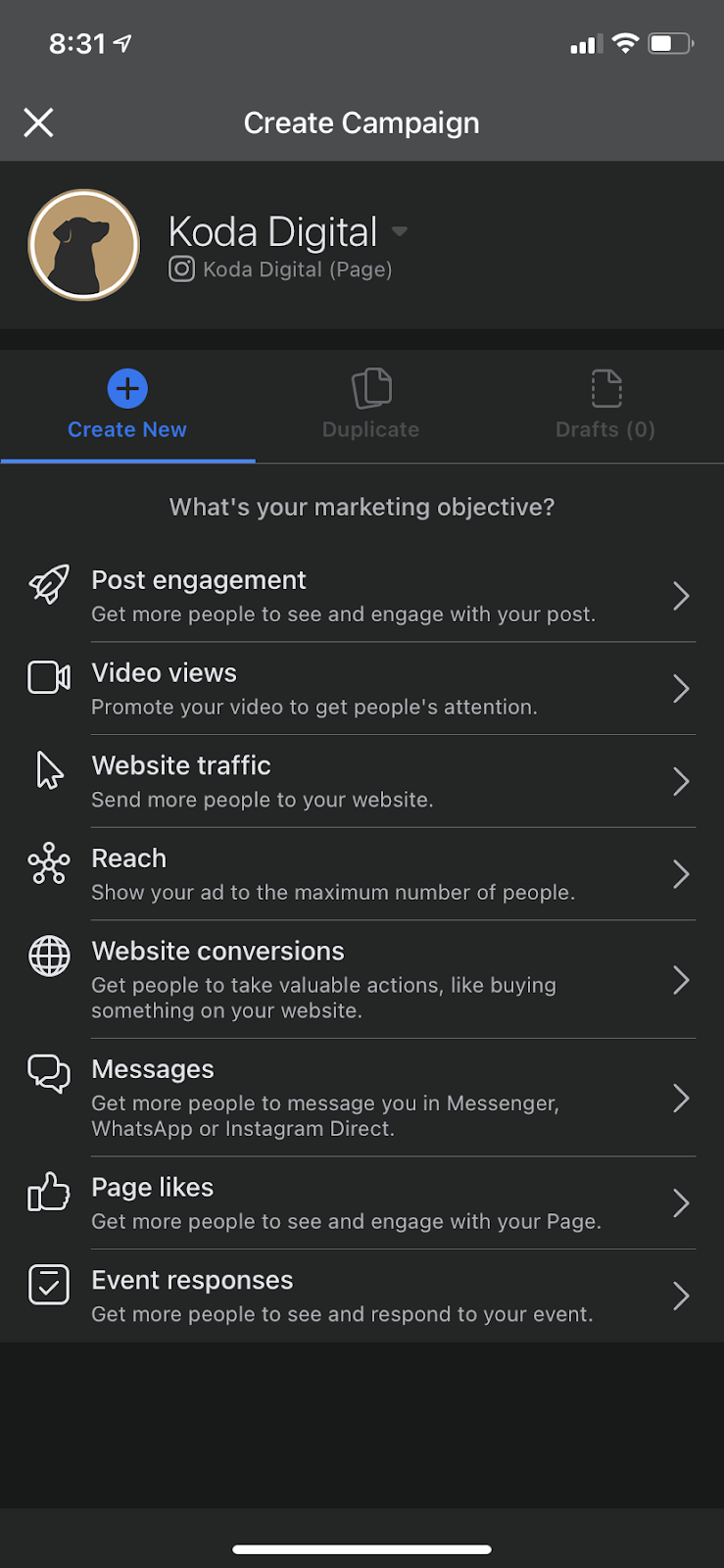 Choose a Campaign Objective in Facebook Ads Manager - Mobile