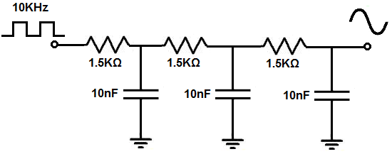 Square-to-sine wave converter circuit