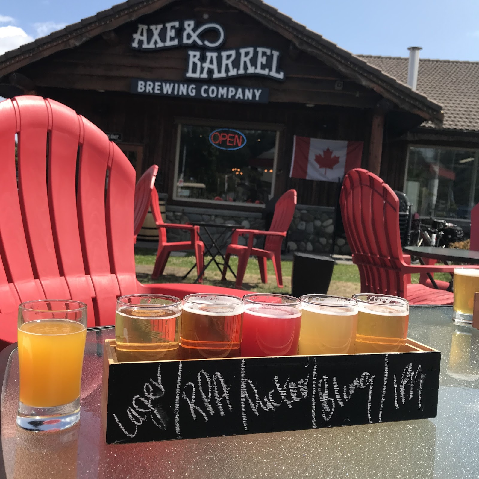 Beer samplers at Axe and Barrel