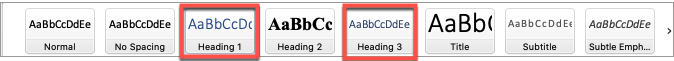 In Microsoft Word, the default Heading 1 and Heading 3 font is light blue.  User darker text color for better contrast.