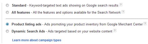 Google adwords - product listing ads option