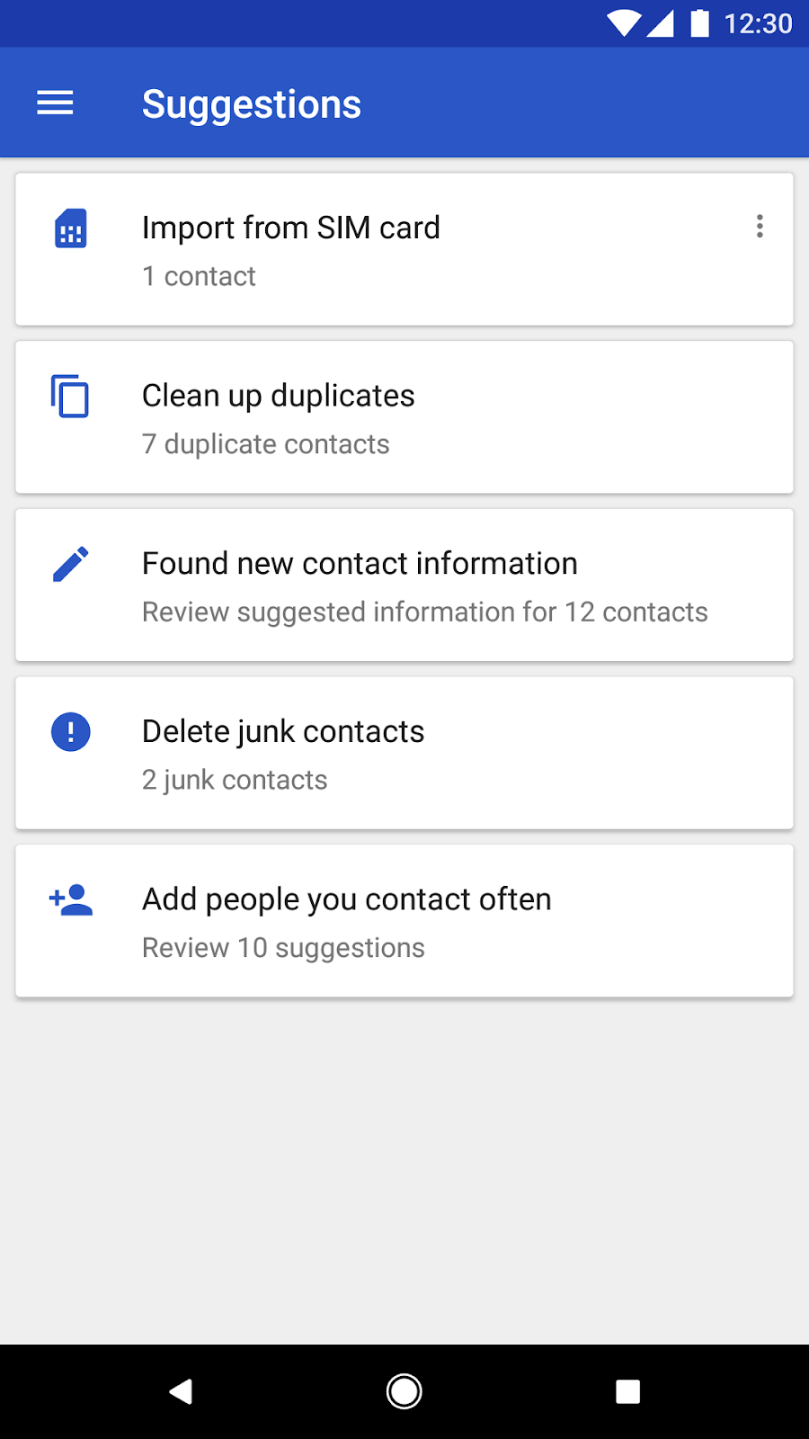 Contacts Android app - new features - screenshot of suggested contacts