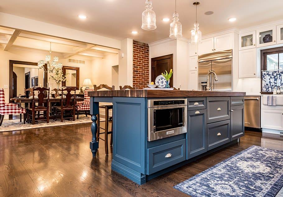 Navy Modular Kitchen Cabinets
