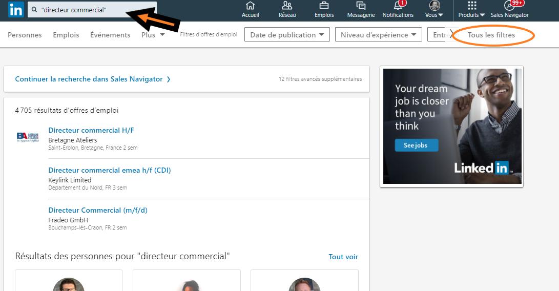 Recherche boléenne LinkedIN