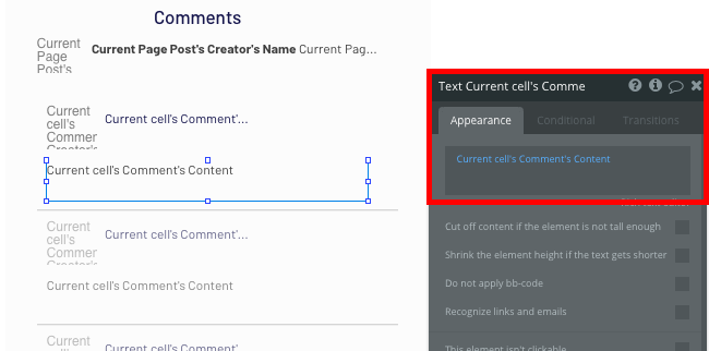 Displaying dynamic content of a comment using Bubble's no-code editor