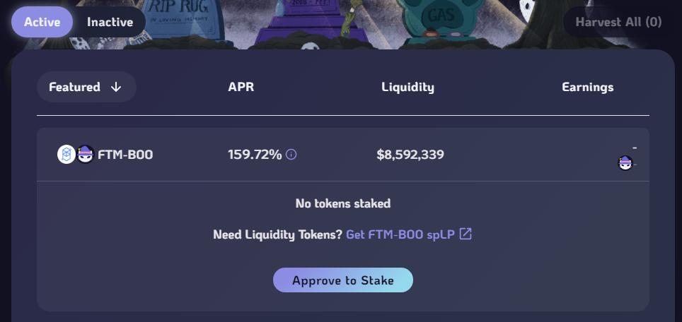 Stake LP tokens on SpookySwap