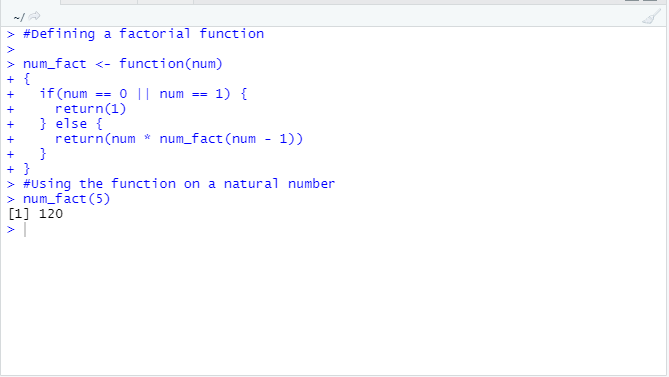This image shows a code that defines the factorial function in R programming as well as the output when the function is used on a natural number.
