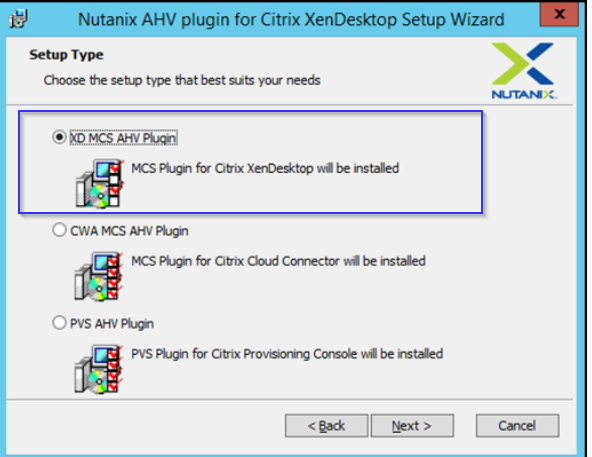 Machine generated alternative text: Nutanix AHV plugin for Citrix XenDesktop Setup Wizard  x  Setup Type  Ci-mse he type hat nits yar '*eds  KS Citix Xe•OeÖttop wa hstüd  'KS Citix Ca7*ctr be hst&d  C) pvs  PVS PkJ# for Citrix be