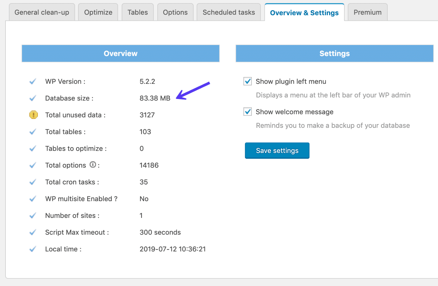 The total database size in the plugin