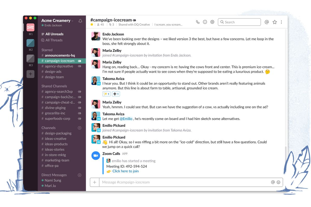 Slack shared channels
