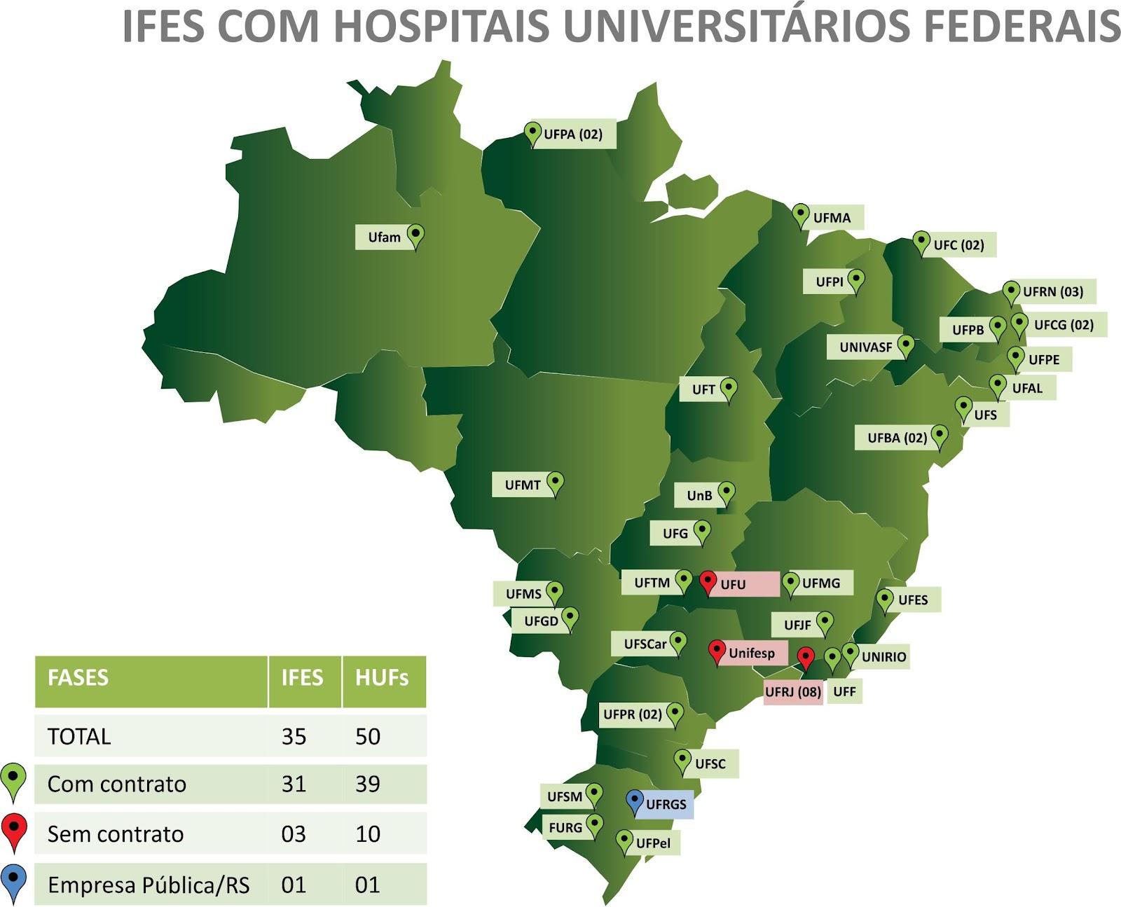 Mapa dos Hospitais Universitários sob a gestão da EBSERH
