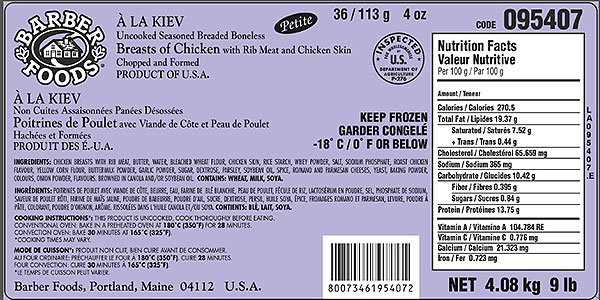 Barber Foods brand À La Kiev – Breasts of Chicken - 4.08 kilograms