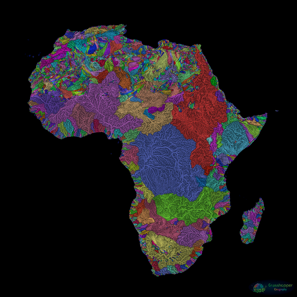 Africa is home to the rivers with the world's second- and third-largest catchment areas: the Congo (in blue), with a basin of 1.44 million square miles (3.73 million km2), and the Nile (in red), with basin area of 1.26 million square miles (3.25 million km2). The Nile is the longest river in Africa, though (4,130 miles; 6,650 km), followed by the Congo: 2,900 miles (4,700 km). The Congo River's alternative name, Zaire, comes from the Kikongo nzadi o nzere ('river swallowing rivers'). Image source: Grasshopper Geography