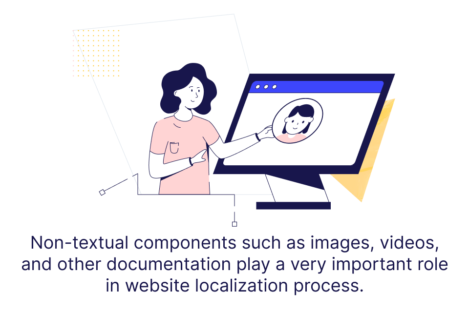 """Visual design saying that """"Non-textual components such as images, videos, and other documentation play a very important role in the website localization process. """""""