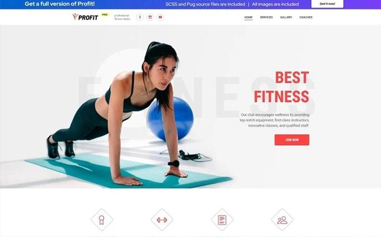 лучший бесплатный шаблон темы ботстрапа веб-сайт тренер фитнес тренажерный зал