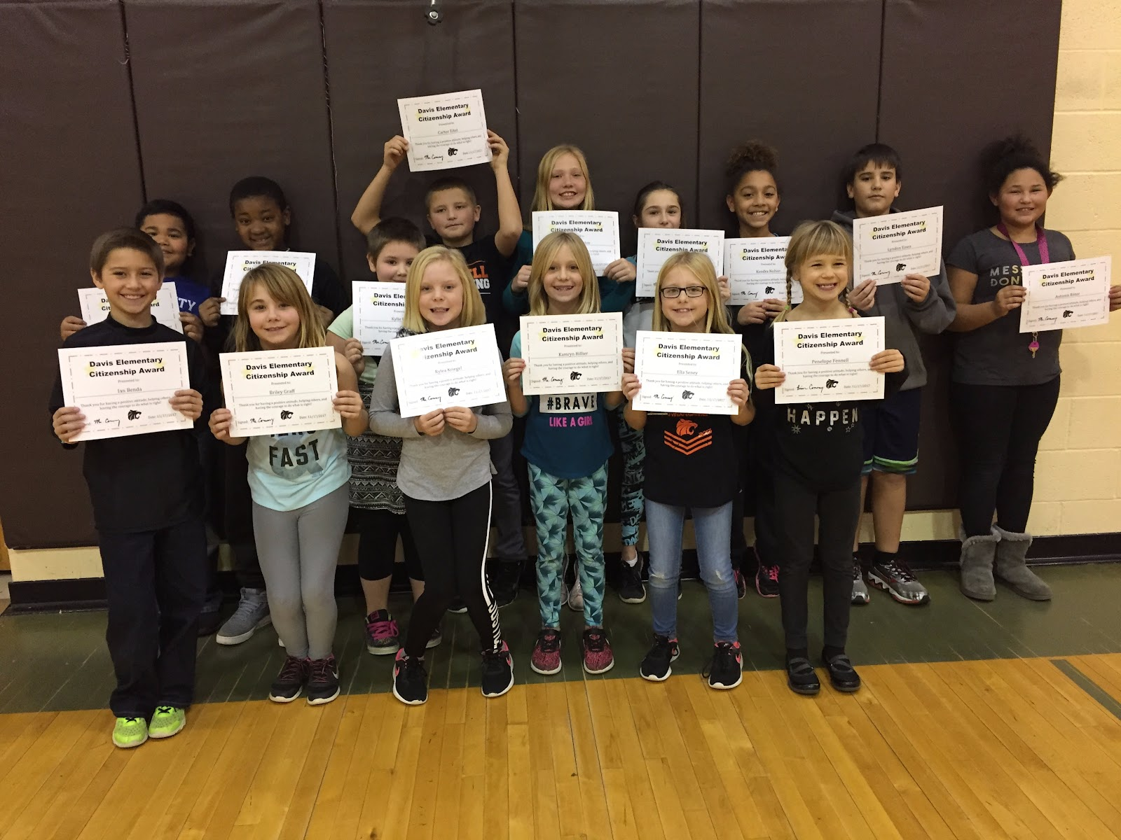 Students at Davis were given Character Awards for being great citizens
