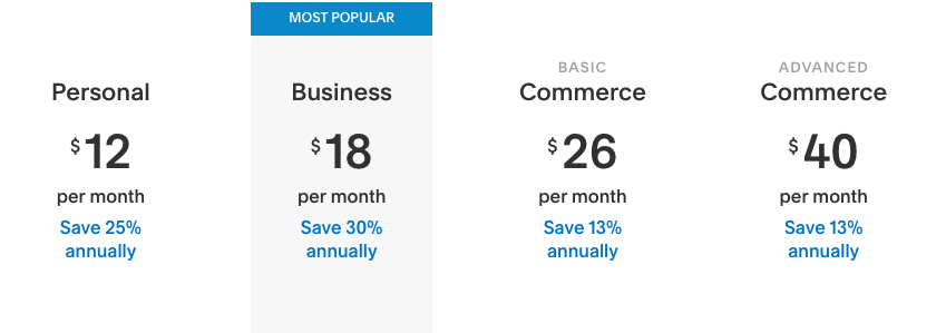 screenshot of Squarespace pricing plans