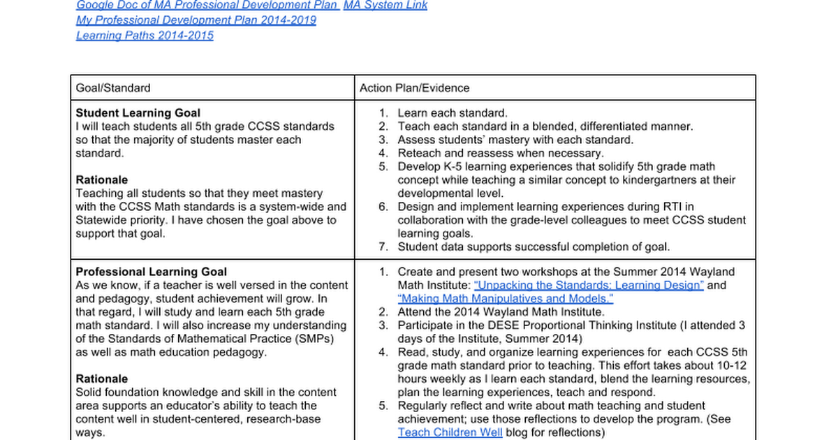2014-2015 Goals and Evidence - Google Docs