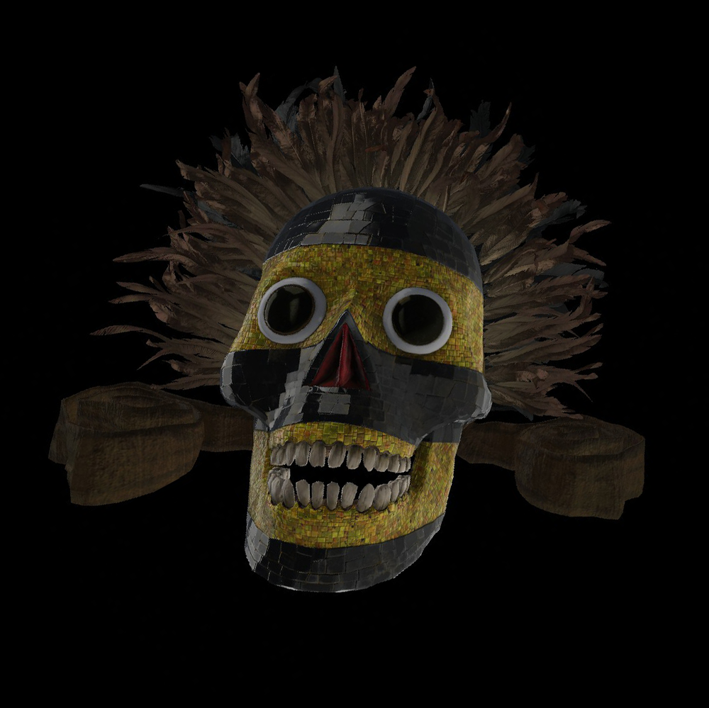 A graphic of a skull-like mask crusted with gemstones in yellow and black.