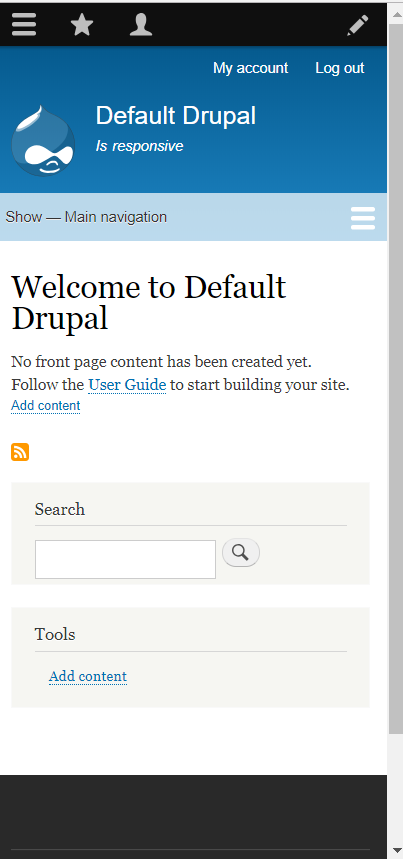Screen shot of default Drupal 8 homepage in it's most narrow display.
