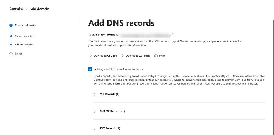 Trang 'Thêm bản ghi DNS' để thiết lập miền tùy chỉnh với địa chỉ email doanh nghiệp Microsoft 365.