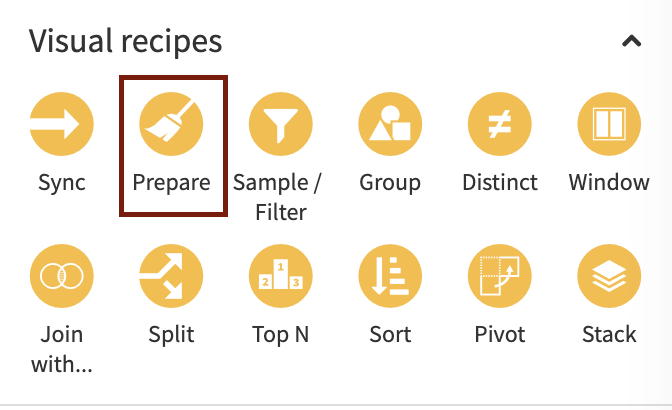 dataiku visual prepare recipe
