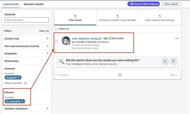 industry filter error sales navigator