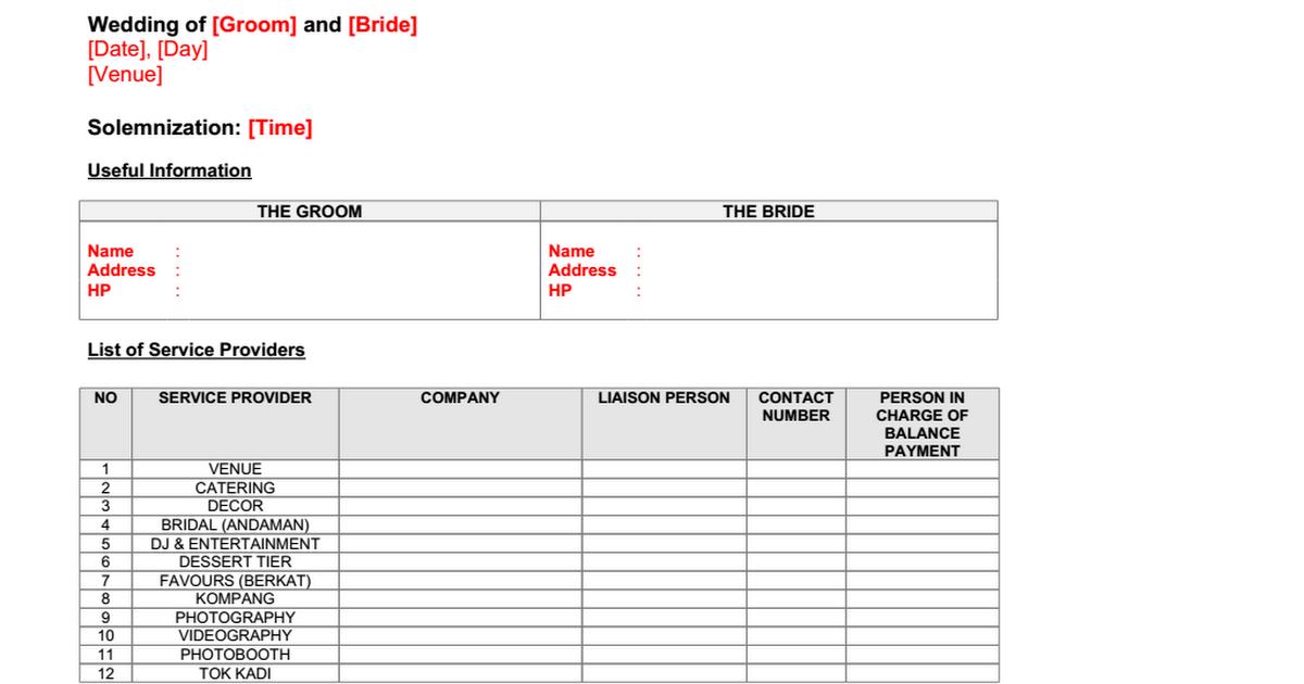 Sample Wedding Itinerary for Malay Weddings 1day Combined – Wedding Agenda Sample