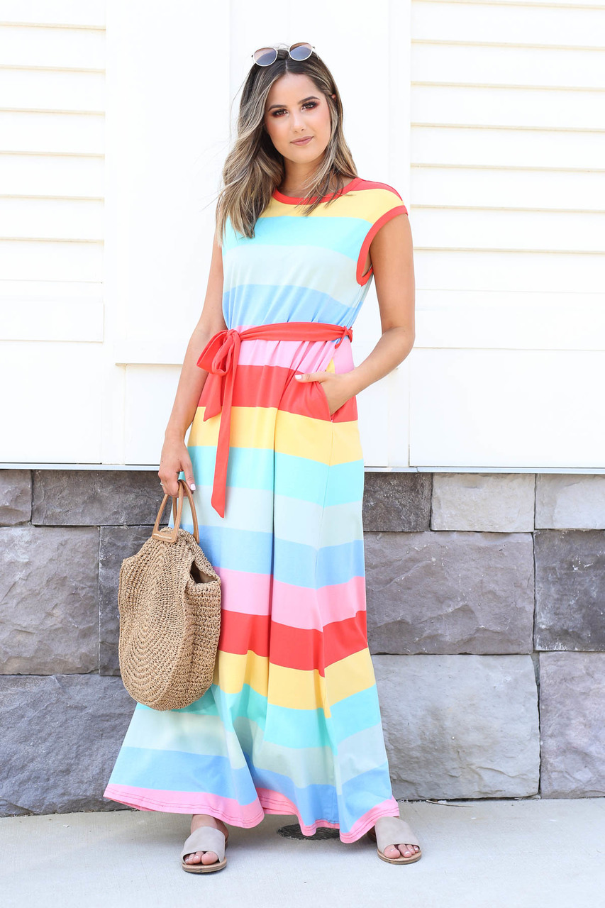 Michelle Multi-Strip Maxi Dress