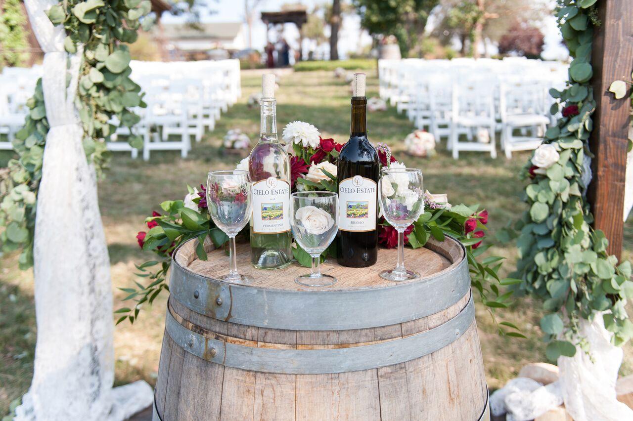 ceremony wedding wine on barrel