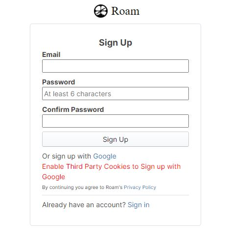 Account signup page