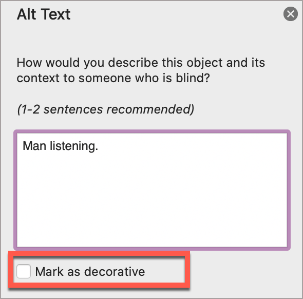 In the PowerPoint Alt Text window, select Mark as decorative.