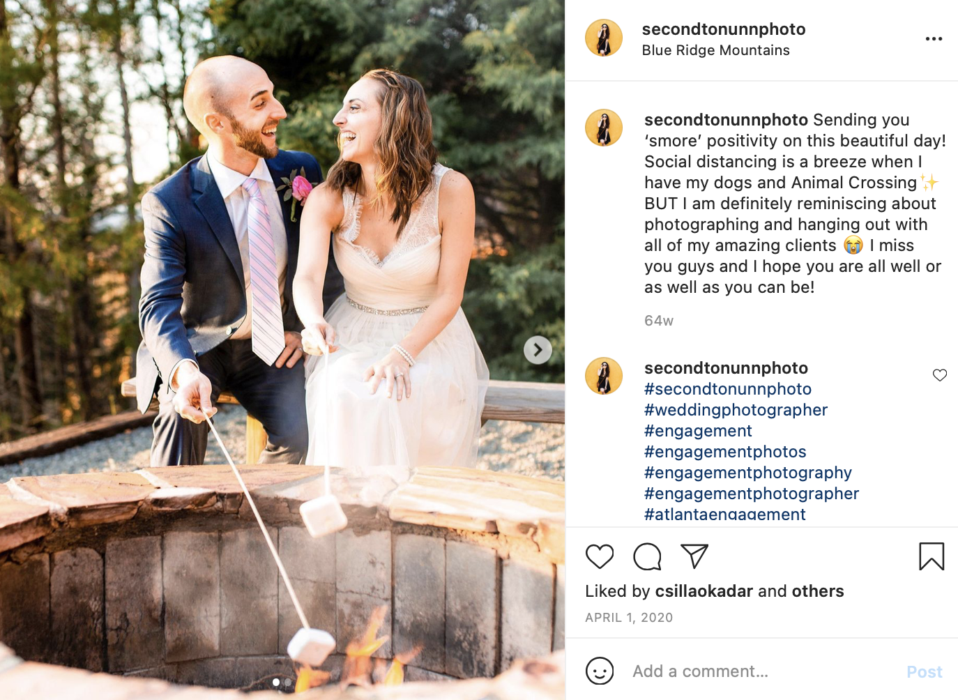 a bride and groom roast marshmallows over a fire