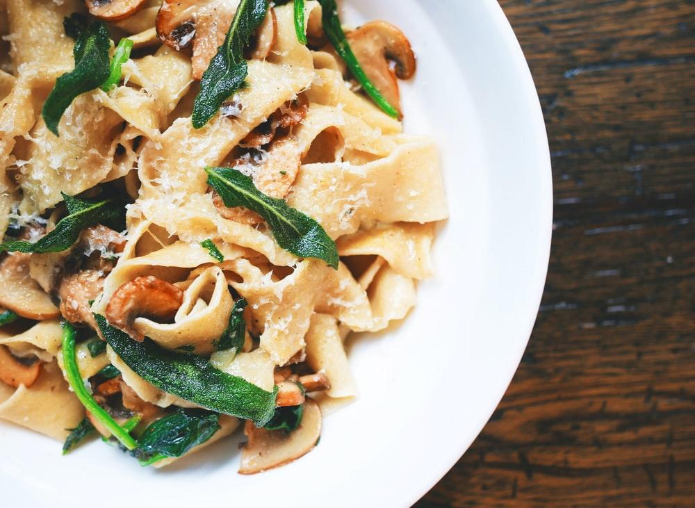 pasta dish on white plate